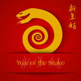 Year of the Snake 2013 applique. On red background Royalty Free Stock Photos