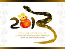 Year of the snake in 2013 new year greeting cards. New Year Card Royalty Free Stock Image