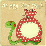 Year of the snake. New Year Card design - symbol of the year, snake with a bag of gifts - illustration Stock Images