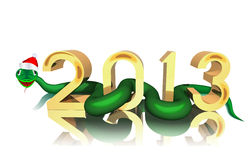 Year of the snake. Merry snake on white background is shown in image Stock Photos