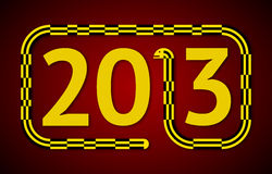 Year of the Snake. Yellow and Black Snake Replacing the Number 1 in 2013 Royalty Free Stock Photo