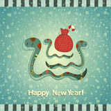 Year of the snake card. New Year Postcard design - symbol of the year, snake with a bag of gifts - illustration Stock Photography