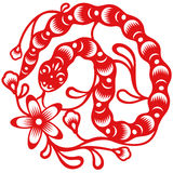 Year of Snake, oriental paper cut style. Chinese year of Snake made by traditional chinese paper cut arts, oriental (Chinese) paper cut style stock illustration