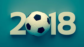 Year of 2018 and soccer ball. Creative ideaof year of 2018 with soccer ball. 3D render for your design Royalty Free Stock Photography