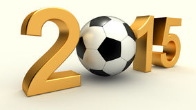 Year 2015 with soccer ball. On the white background stock illustration