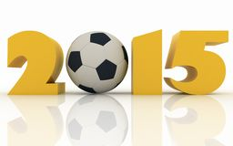 2015 year and soccer-ball on a white. Background Royalty Free Stock Photo