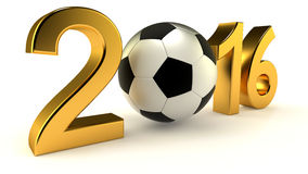 Year 2016 with soccer ball Stock Photography