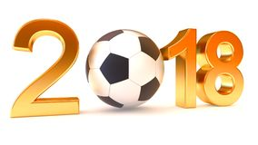Year 2018 and soccer ball. On the white background, 3d illustration Royalty Free Stock Images
