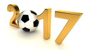 Year 2017 with soccer ball. On the white background, 3d-illustration royalty free illustration