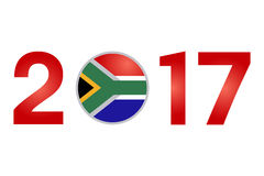 Year 2017 with South Africa Flag. New Year 2017 with South Africa Flag isolated on White Background - Vector Illustration Royalty Free Stock Images