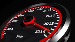 2014 year speedometer. 3d Conceptual 2014 year speedometer Royalty Free Stock Photo