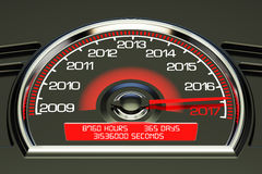 2017 year speedometer. 3D rendering Stock Photography