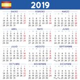 Year 2019 squared calendar spanish week starts on monday Royalty Free Stock Photos