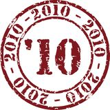 Year stamp. Vector year stamp with red ink. 2010 Royalty Free Stock Images