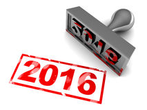 2016 year stamp. 3d illustration of 2016 new year stamp, over white background Stock Images
