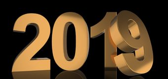 The year 2019 stands in bold golden numbers with metallic shine Stock Photography