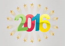 2016 year star. Illustration of 2016 text with stars and stripes background Royalty Free Stock Photo