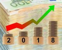 2018 year statistics with money background. Stock Image