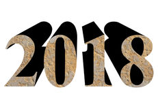 year 2018 in stone isolated over white Royalty Free Stock Images