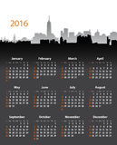 2016 year stylish calendar on cityscape background. 2016 year English calendar on cityscape dark background. Sundays first. Flat design vector illustration Stock Images