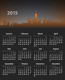 2015 year stylish calendar on cityscape background. 2015 year English calendar on cityscape background. Mondays first. Vector illustration Stock Illustration