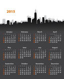 2015 year stylish calendar on cityscape background. Sundays first. Vector illustration Royalty Free Stock Images