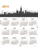 2014 year stylish calendar on cityscape grunge background. Sundays first. Vector illustration stock illustration