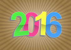 2016 year sunburst. Illustration of 2016 year text with sunburst Royalty Free Stock Photos