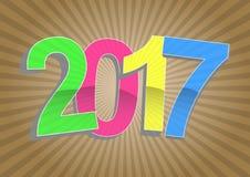 2017 year sunburst. Illustration of 2017 year text with sunburst Royalty Free Stock Photos