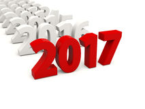 2017 Year symbol with other years. 3D illustration Stock Image