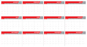 Year 2017 table calendar vector design template. Simple and clean design Royalty Free Stock Photos