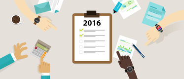 Year target check list business review plan resolution. 2016 year target check list business review target plan resolution vector Stock Photos