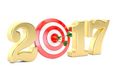 2017 year target concept, 3D rendering. On white background Stock Photo