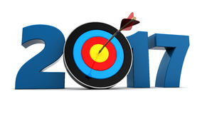 2017 year target. 3d illustration of 2017 year sign and arrow with target Royalty Free Stock Photography