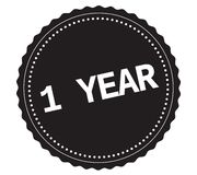 1-YEAR text, on black sticker stamp. 1-YEAR text, on black sticker stamp sign royalty free illustration
