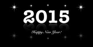 2015 year text design with black and white. The text 2015 with star are design for all purpose Royalty Free Stock Image