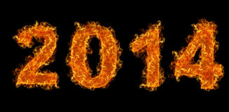 Year 2014 text on fire Royalty Free Stock Images