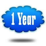 1 YEAR text message on hovering blue cloud. Stock Images