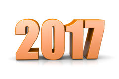 2017 Year Text. Orange 2017 Year Number Text on White Background 3D Illustration Royalty Free Stock Photos