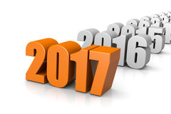 2017 Year Text, Time Passes Concept. Orange 2017 Year Number Text Time Passes Concept on White Background 3D Illustration Stock Photos