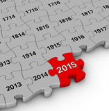 2015 year time passing. Jigsaw puzzle Royalty Free Stock Photography
