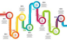 Year timeline infographic template design. stock illustration