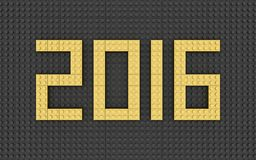 2016 year, toy blocks. 2016 year, made of toy blocks (gold on black Stock Photo