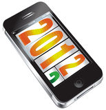 Year turning 2013 after 2012. The year 2013 coming after 2012 on a mobile phone on white background Stock Illustration