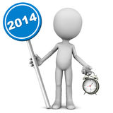 2014 year. Twenty fourteen or 2014 year concept, 2014 is coming soon, says a little 3d man holding 2014 sign with an alarm clock, white background Stock Image