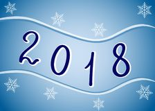 2018. Year Two Thousand Eighteen on a blue background. Vector. 2018. Year Two Thousand Eighteen on a blue background. Vector illustration for greeting card Royalty Free Stock Photo