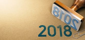 Year 2018, Two Thousand Eighteen. 3D illustration of a rubber stamp with the year 2018 stamped on recycled paper background. Two Thousand Eighteen agenda Stock Image