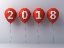 Year two thousand eighteen , Happy new year 2018 , White 2018 text on red balloons  over white wall background. With shadow and reflection . 3D rendering Royalty Free Stock Photography