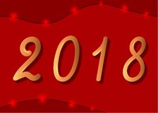 2018. Year Two Thousand Eighteen on a red background. Vector illustration for greeting card design, posters, calendar, banner Royalty Free Stock Photography