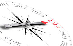 Year 2014 Two Thousand Fourteen. Compass with needle poiting Year 2014 - Two Thousand Fourteen - 3D concept image for the new year consisting of one compass over stock illustration